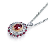Ruby and CZ Necklace Pendant in Sterling Silver
