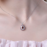 Ruby and Cubic Zirconia Necklace Pendant in Sterling Silver on young model girl