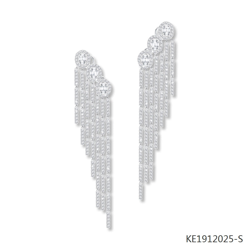 Oval Cubic Zirconia Tassel Earrings in Sterling Silver