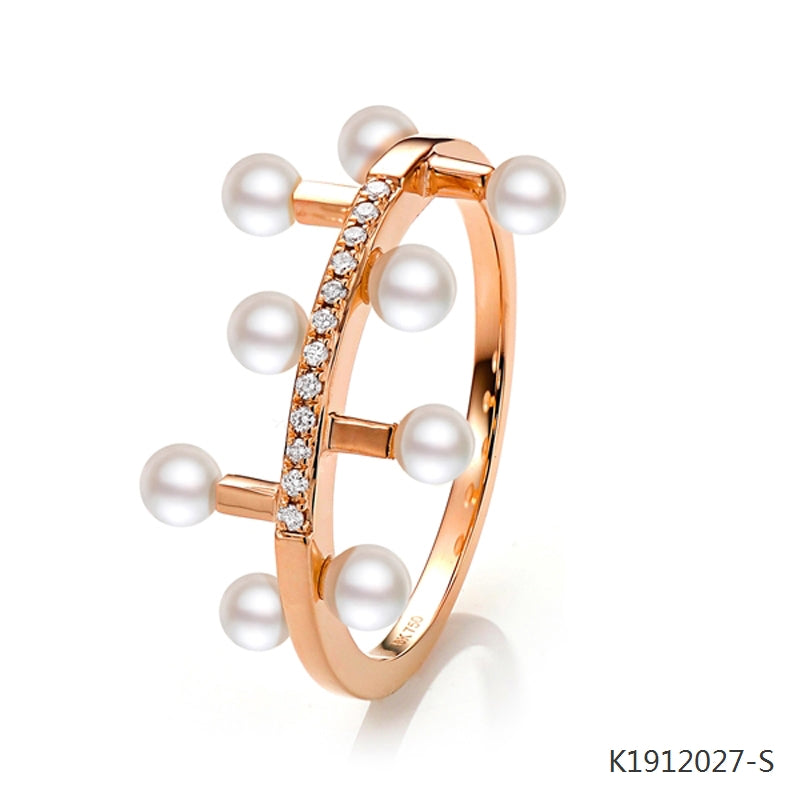 Freshwater Pearl and CZ Ring in 18K Rose Gold Plated Sterling Silver