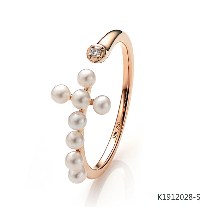 18K Rose Gold Plated Sterling Silver Ring with Freshwater Pearl and CZ