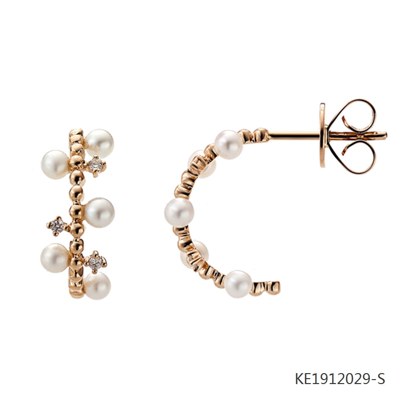 Vintage-Inspired Freshwater Cultured Pearl and CZ Earrings in Rose Gold Plated Sterling