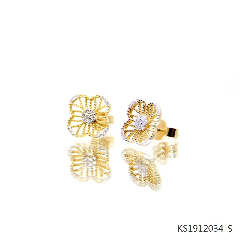 Cubic Zirconia Clover Stud Earrings in 18K Yellow Gold Plated Sterling Silver