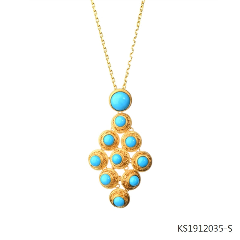 Blue Turquoise Pendant in 18K Gold Plated Sterling Silver