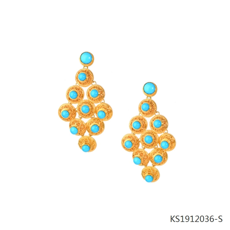 Blue Turquoise Earrings in 18K Gold Plated Sterling Silver