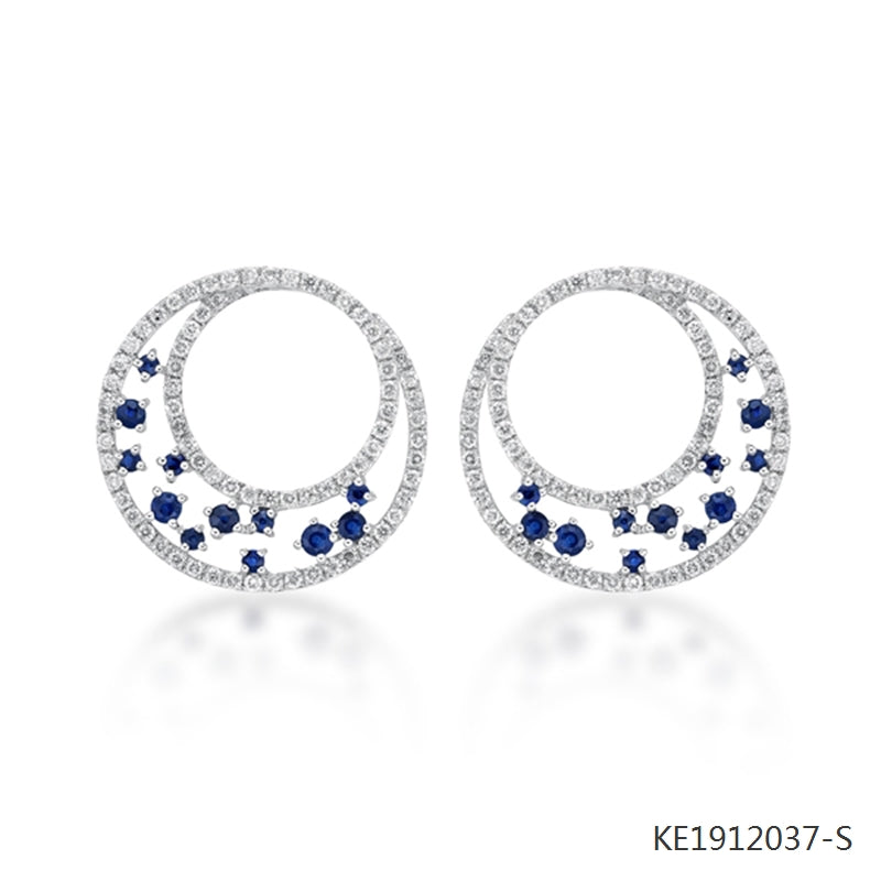 Sapphire and Cubic Zirconia Double Circle Earrings in Sterling Silver