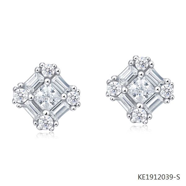 Princess Cubic Zirconia Earrings in Sterling Silver