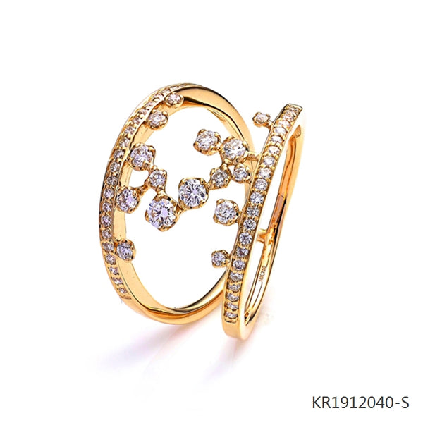 18K Yellow Gold Plated Sterling Silver Cubic Zirconia Double Ring