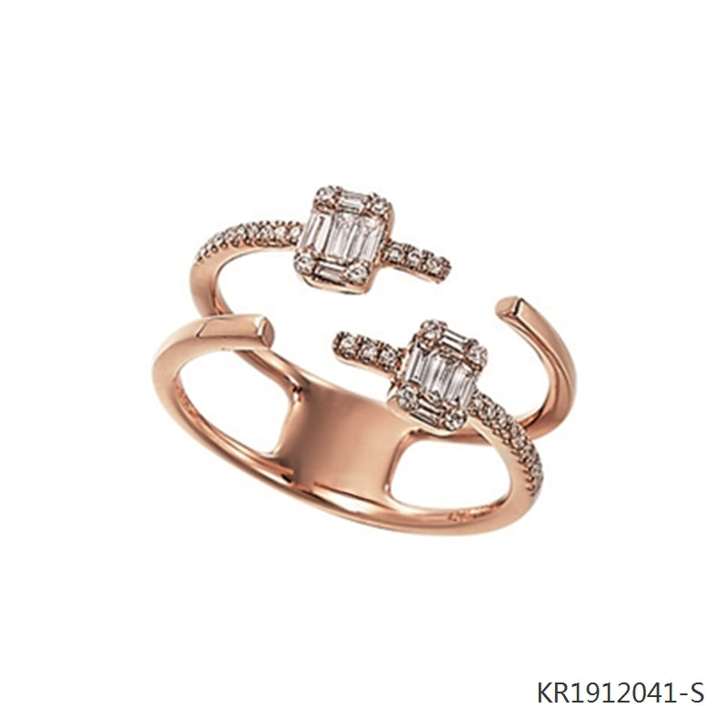 18K Rose Gold Plated Sterling Silver Cubic Zirconia Double Ring
