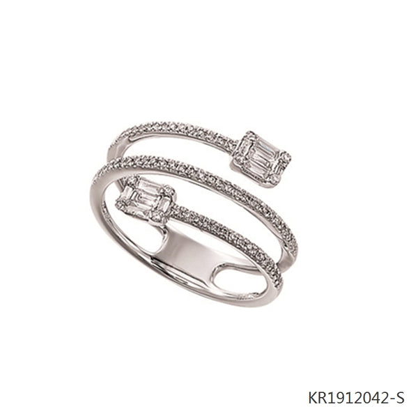 Double-end Baguette Cubic Zirconia ring in Sterling Silver