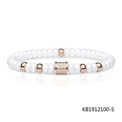 Ceramic Rose Gold Plated Cubic Zirconia Sterling Silver Beads Bracelet