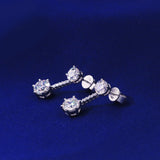 Sterling Silver Drop Earring Screw Back with cubic zirconia stone detail