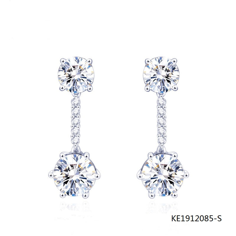 Sterling Silver Drop Earring Screw Back with Clear CZ Stones