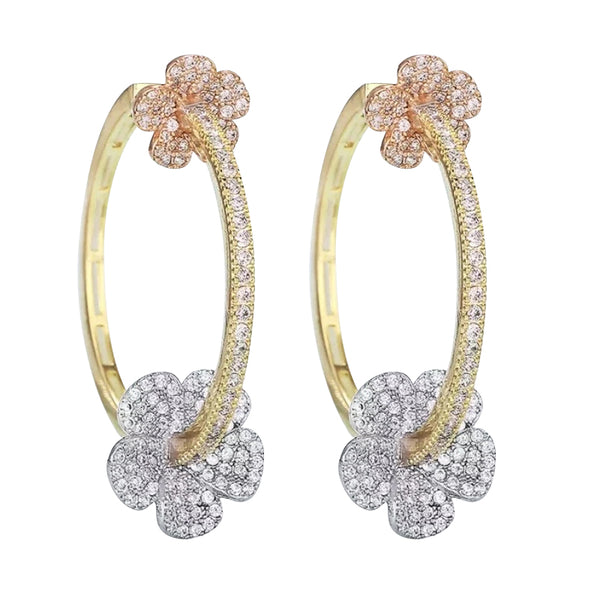 Cubic Zirconia Sterling Silver Flower Hoop Earrings