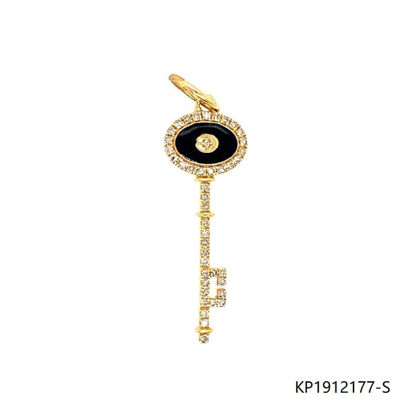 CZ Enamel Key Charm in 14K Gold Plated Sterling Silver