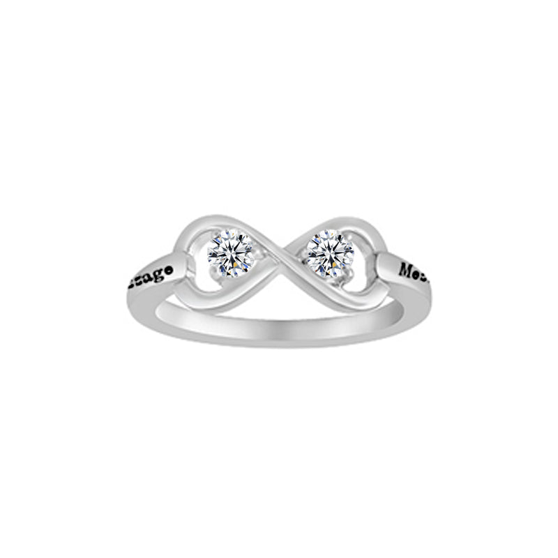 Twisted Heart Sterling Silver Ring With Cubic Zirconia