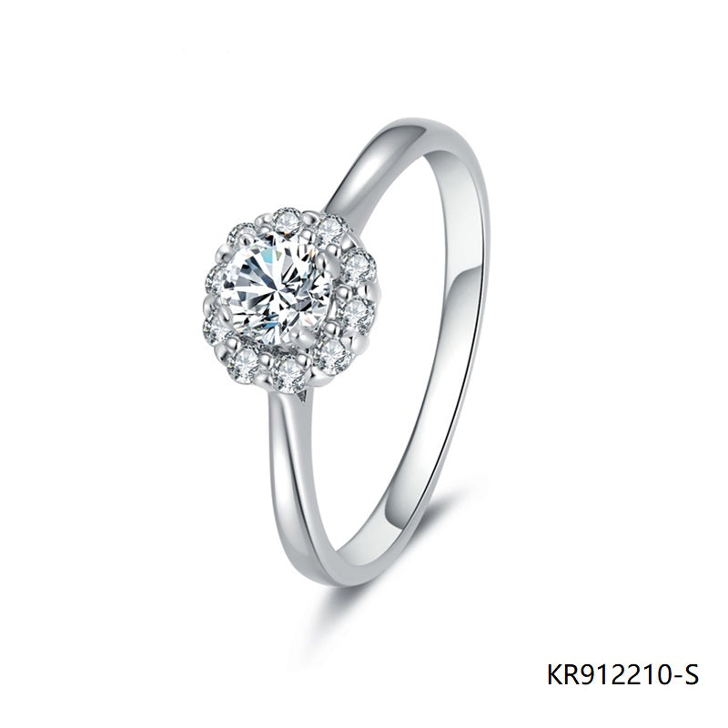 Hand Setting Cubic Zirconia Engagement Ring in Sterling Silver