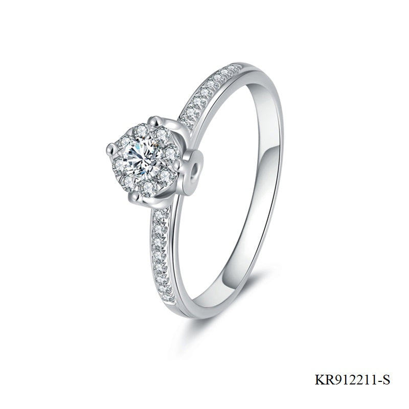 Pave Setting Cubic Zirconia Sterling Silver Engagement Ring