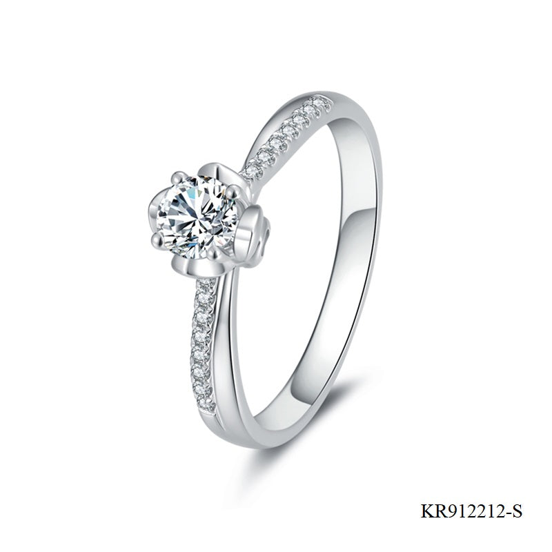 Hand Setting CZ Sterling Silver Engagement Ring