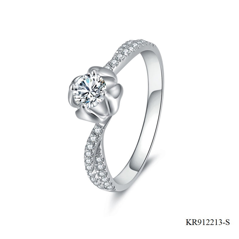 Pave Setting Cubic Zirconia and Sterling Silver Engagement Ring