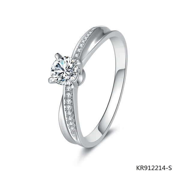 Hand Setting Cubic Zirconia S925 Sterling Silver Engagement Ring
