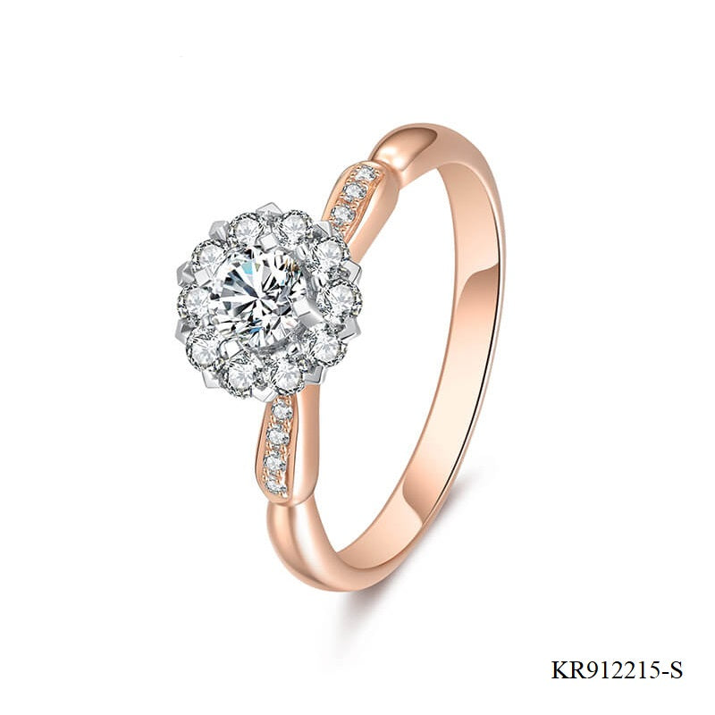 Champagne Gold Plated Sterling Silver Engagement Ring with Clear CZ Stones