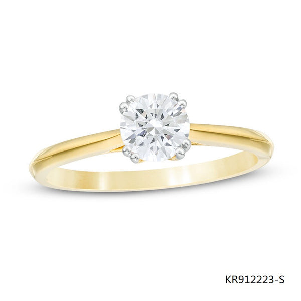 14K Gold Plated Sterling Silver Engagement Ring with Clear 4-Prong CZ Stone