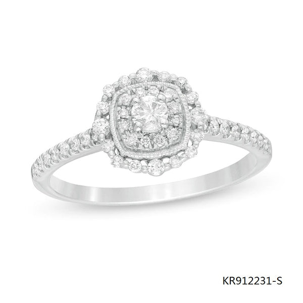 Double Cushion Frame CZ Stones Sterling Silver Engagement Ring