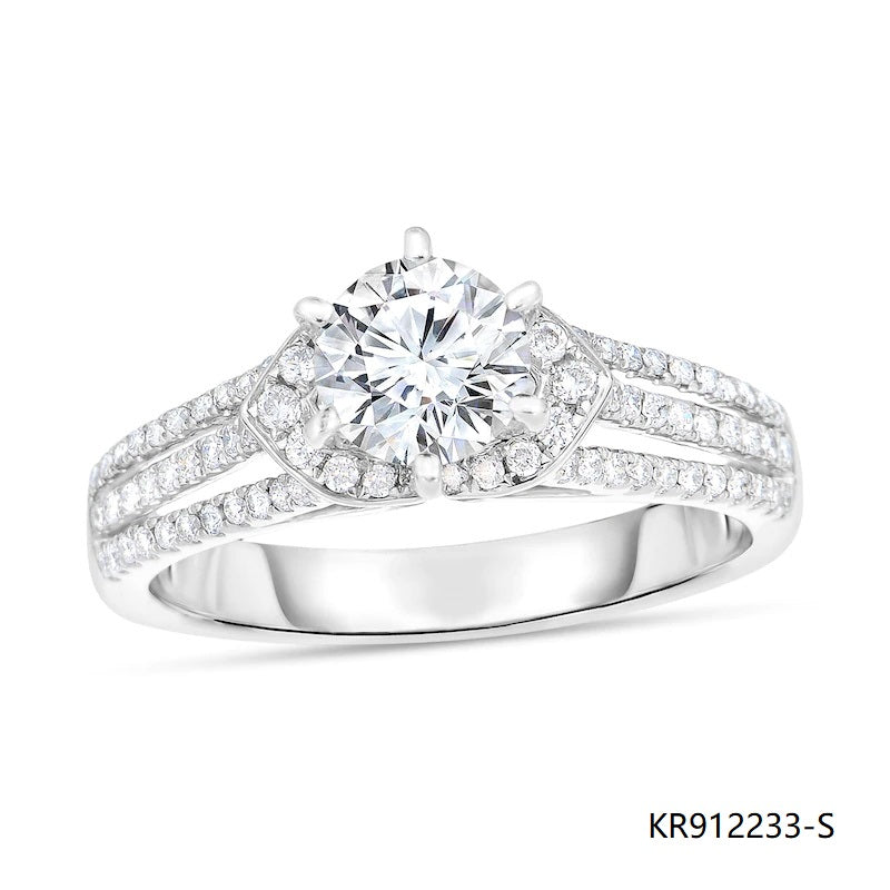 Triple Row Sterling Silver Engagement Ring with Clear Cubic Zirconia