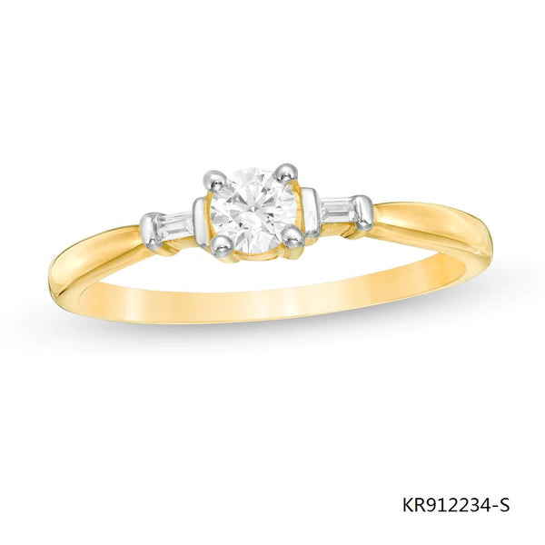 14K Gold Plated Sterling Silver Engagement Ring with Clear Round Baguette CZ Stones
