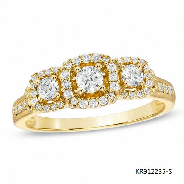 10K Gold Plated Sterling Silver Engagement Ring with Clear 3 CZ Stones