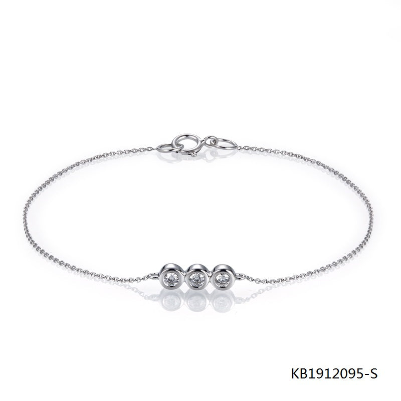 3 Eyes CZ Stones Charm Sterling Silver Chain Bracelet