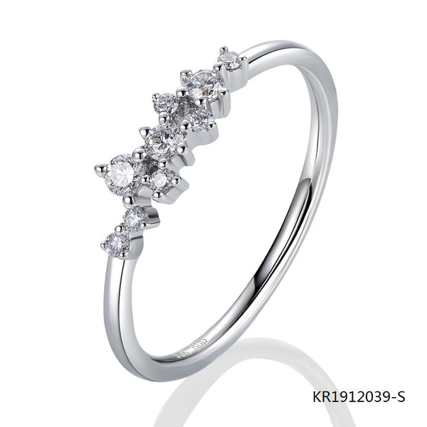 KadArt Minimalistic Sterling Silver Engagement Ring with AAA CZ Stones