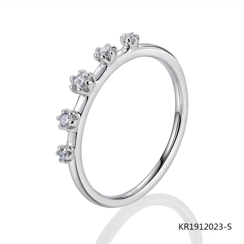 Kadart Sterling Silver Ring with 5 Hand Setting Clear CZ Stones