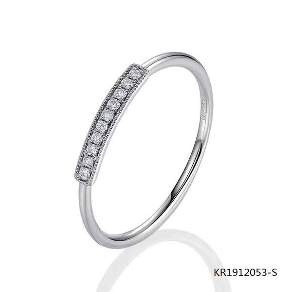 KadArt Sterling Silver Engagement Band Ring with Clear CZ Stones