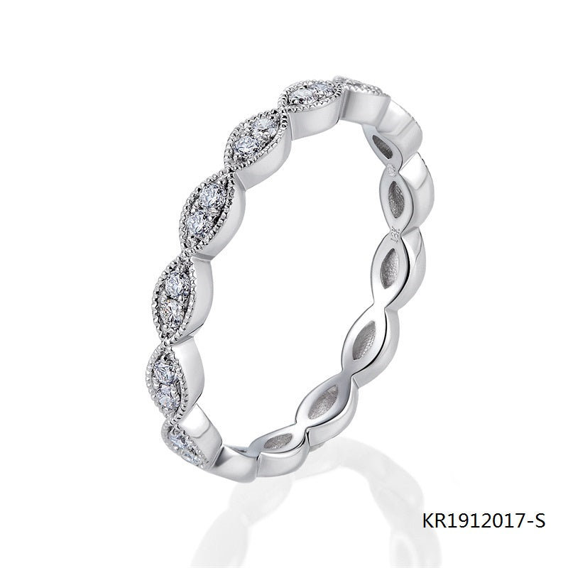 Kadart Evil Eye Sterling Silver Ring with Clear AAA CZ Stones
