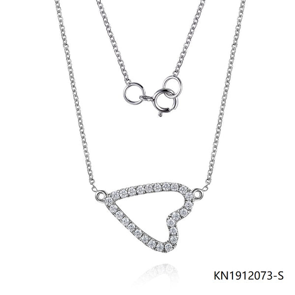 Kadart S925 Silver Necklace and Clear CZ Stones Pendant In Heart Shape