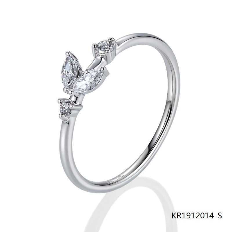 Kadart Sterling Silver Plant Ring with Clear CZ Stones