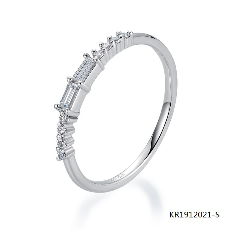 Sterling Silve Ring with 2 Center Baguette CZ Stones