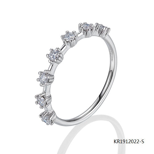 Kadart Sterling Silve Ring with Hand Setting Clear CZ Stones