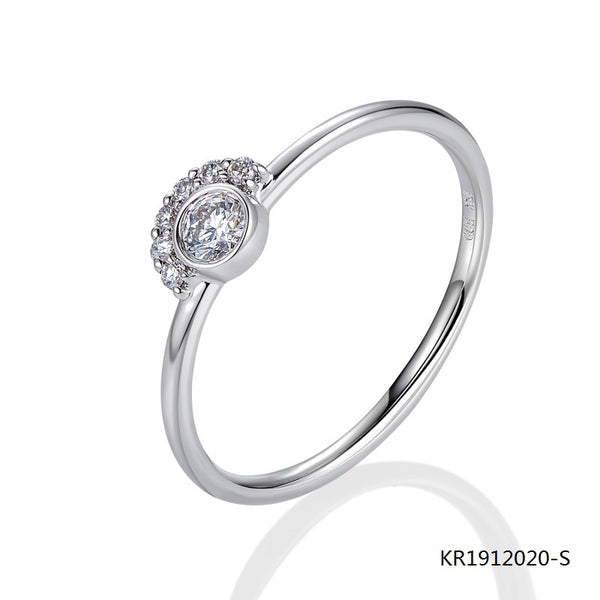 Kadart Sterling Silve Ring with Clear Center CZ Stones