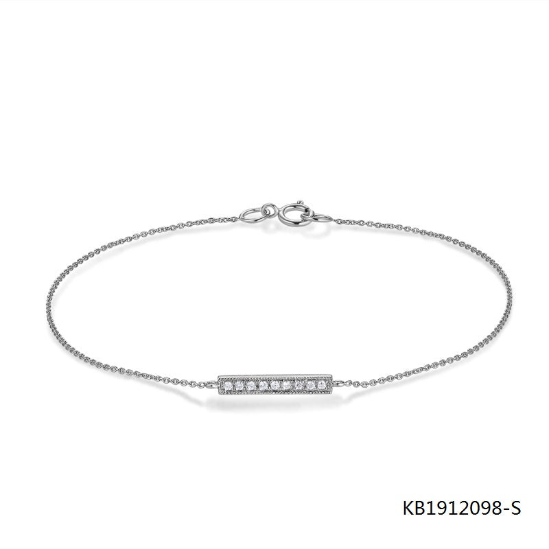 Kadart Silver Chain Bracelet Rectangle Charm with AAA Clear CZ Stones