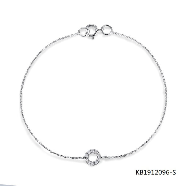 Sterling Silver Chain Bracelet With Circle Charm In Clear CZ Stones