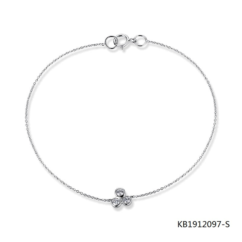 Kadart Sterling Silver Bracelet In Clover Charm With AAA Clear CZ Stones