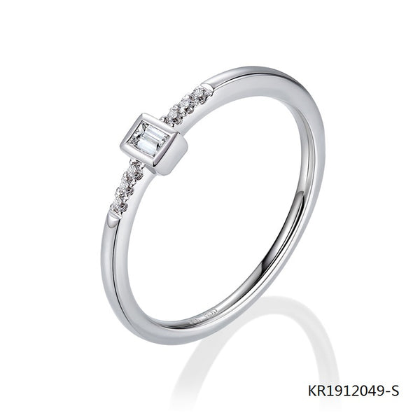 KadArt Sterling Silver Engagement Ring with AAA CZ Stones
