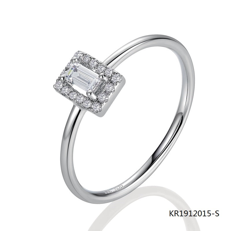 Kadart Sterling Silver Ring Center Clear Baguette CZ Stone