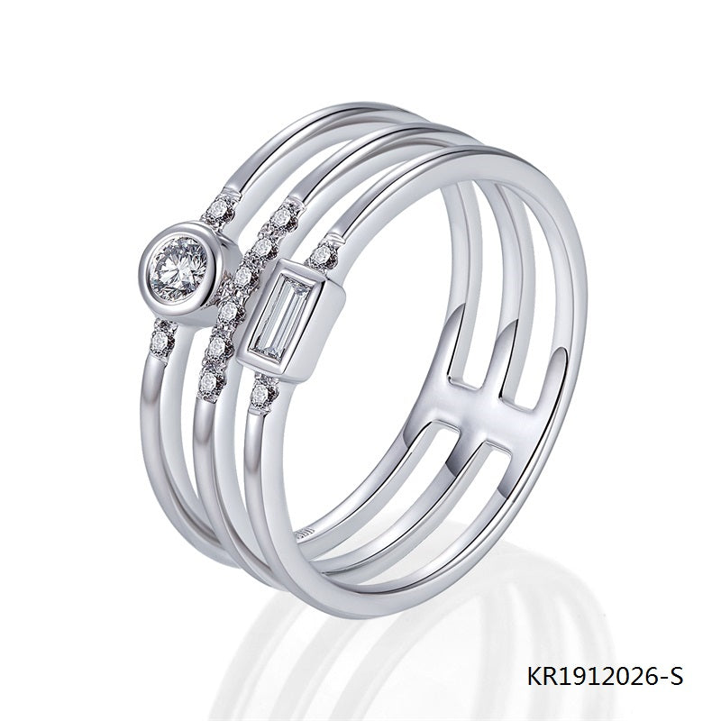 Kadart Sterling Silver Set Ring with Clear CZ Stones