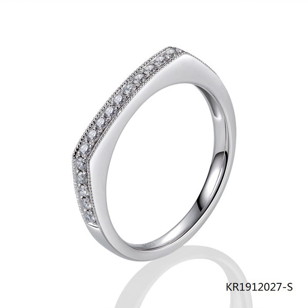 Kadart Sterling Silver Ring Slim Flat Top with Clear CZ Stones