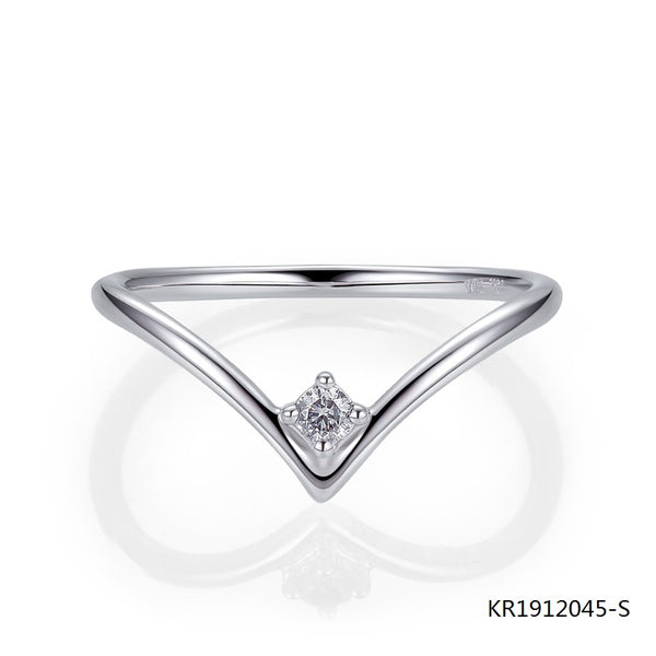 Heart Shaped Sterling Silver Promise Ring with Center Clear CZ Stone