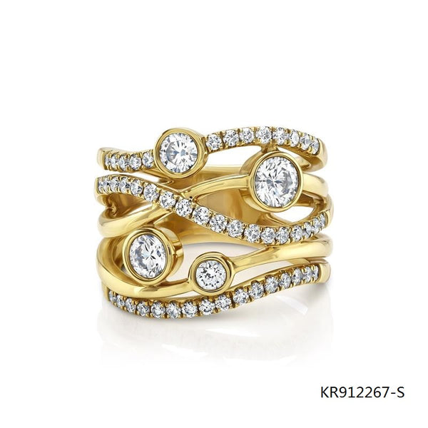 Lunar 18ct Gold Plated Pave Setting CZ Ring in Sterling Silver